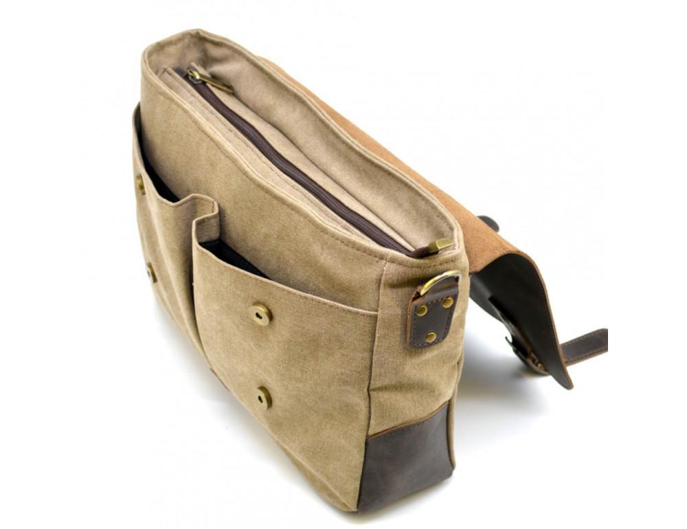Коричневая сумка портфель из ткани и кожи TARWA RSc-3960-3md - Фото № 9