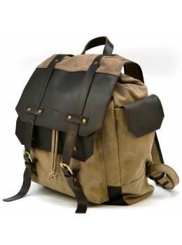 Коричневий комбінований рюкзак зі шкіри та тканини TARWA RSc-6680-4lx