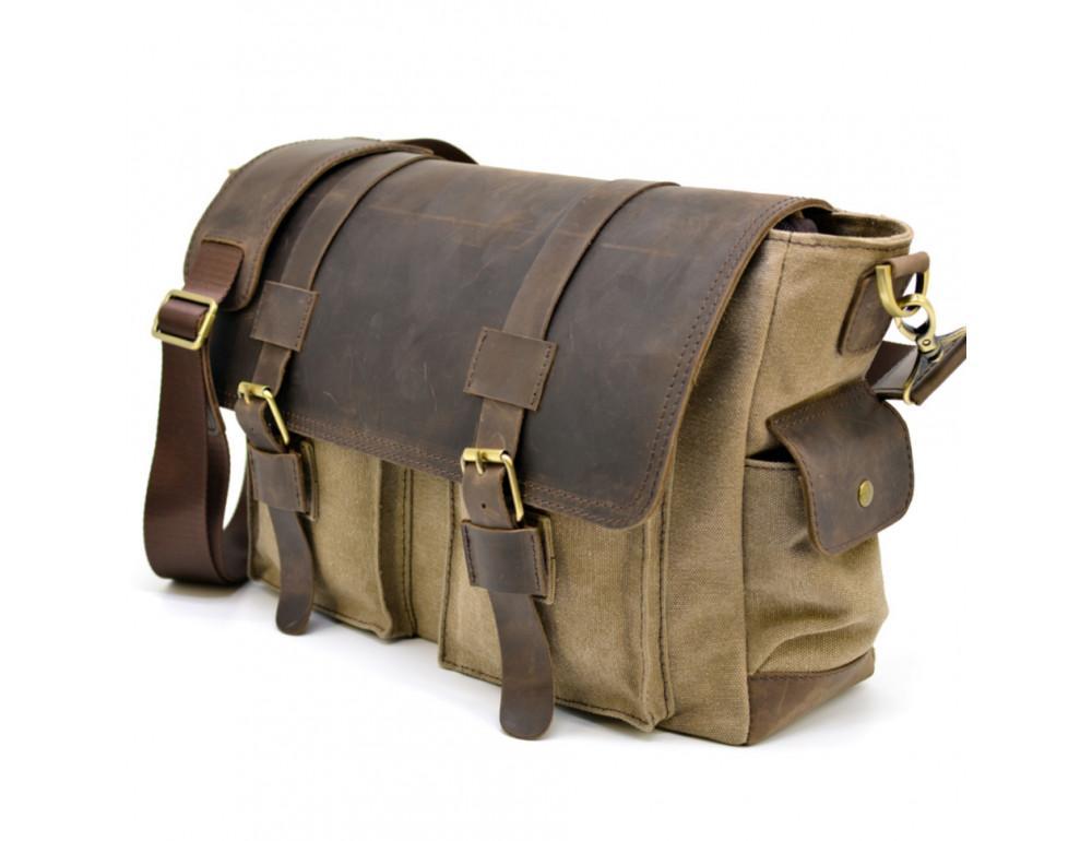 Коричневая кожаная сумка мессенджер TARWA RSc-6690-4lx - Фото № 1