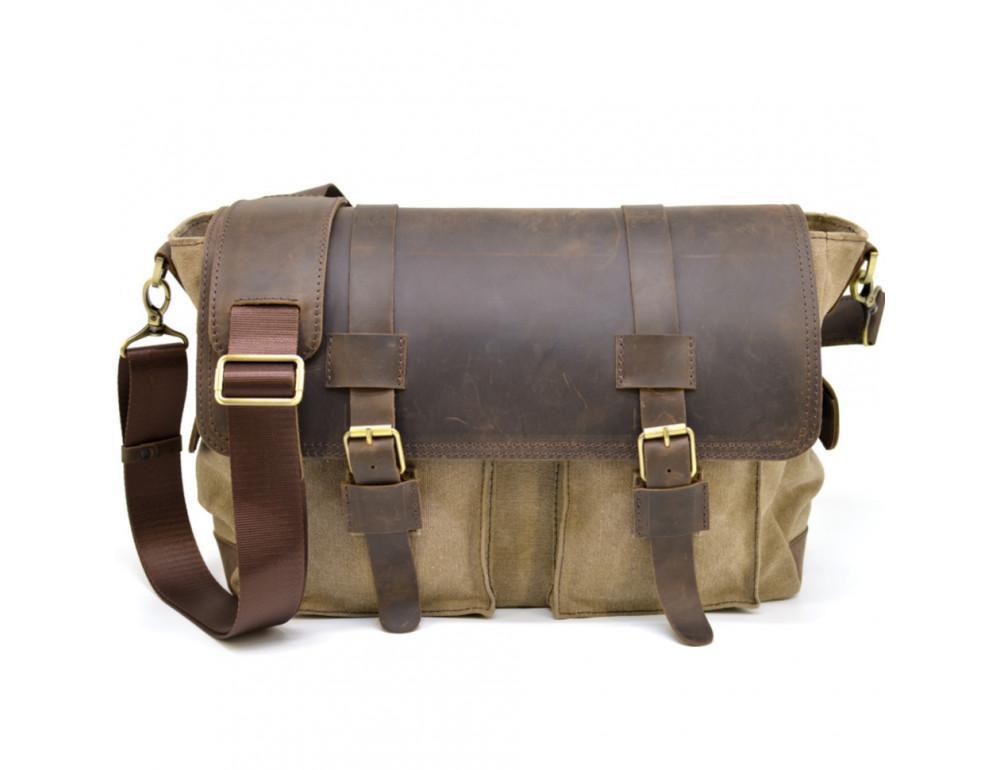 Коричневая кожаная сумка мессенджер TARWA RSc-6690-4lx - Фото № 3