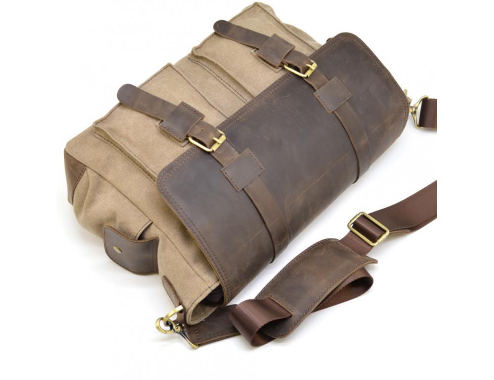 Коричневая кожаная сумка мессенджер TARWA RSc-6690-4lx - Фото № 6