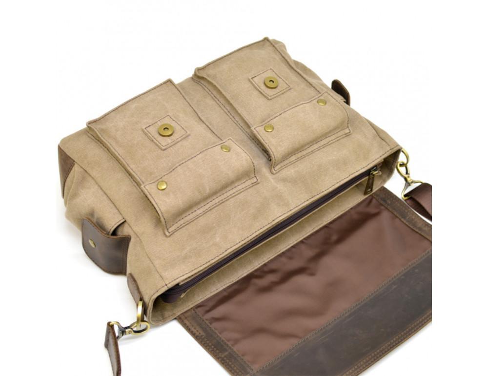 Коричневая кожаная сумка мессенджер TARWA RSc-6690-4lx - Фото № 9