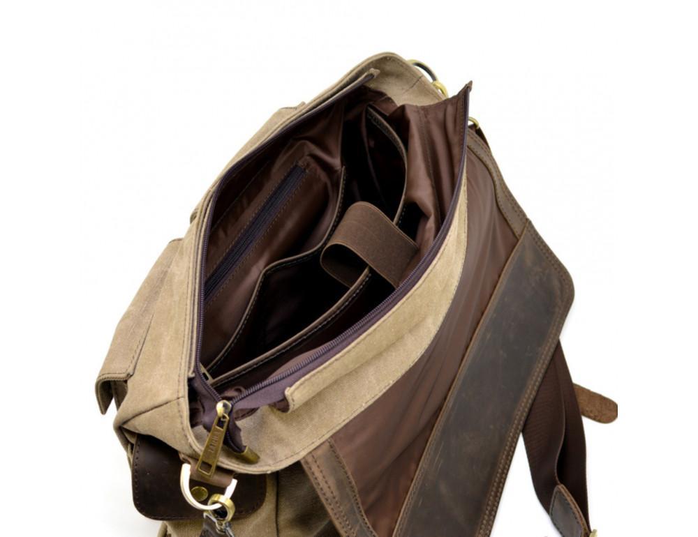 Коричневая кожаная сумка мессенджер TARWA RSc-6690-4lx - Фото № 10