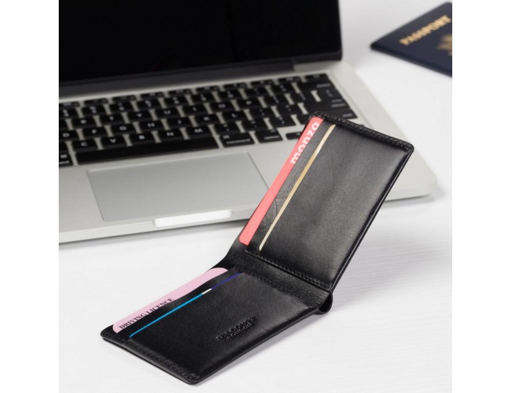 Чёрное мужское портмоне из гладкой кожи Visconti RW49 BLK Dollar - Фото № 5