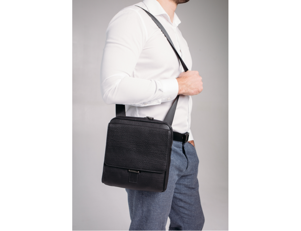 Чёрная мужская сумка кожаная Tavinchi S-002A - Фото № 2