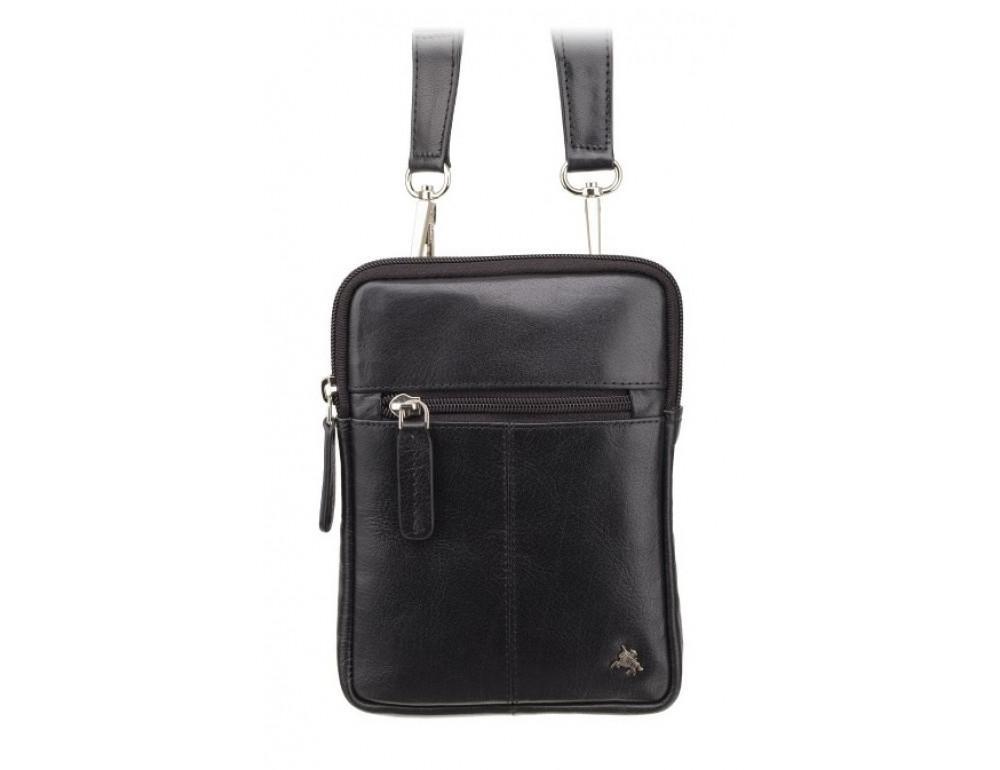 Чорна маленька чоловіча сумка з гладкої шкіри Visconti S10 BLK Remi (Black) - Фотографія № 1