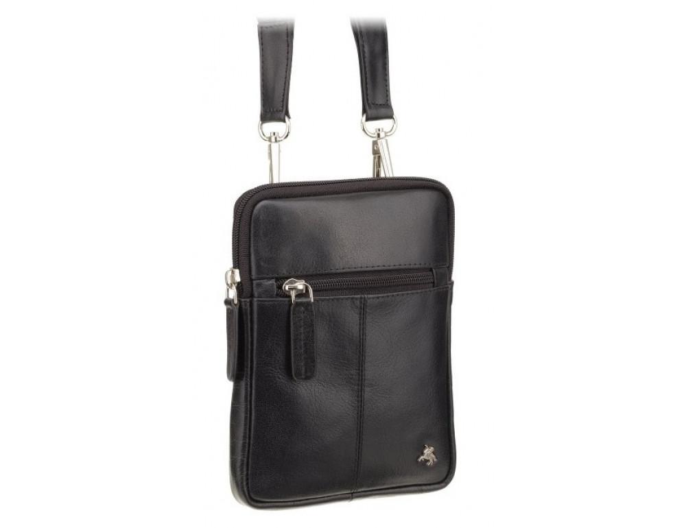 Чорна маленька чоловіча сумка з гладкої шкіри Visconti S10 BLK Remi (Black) - Фотографія № 2