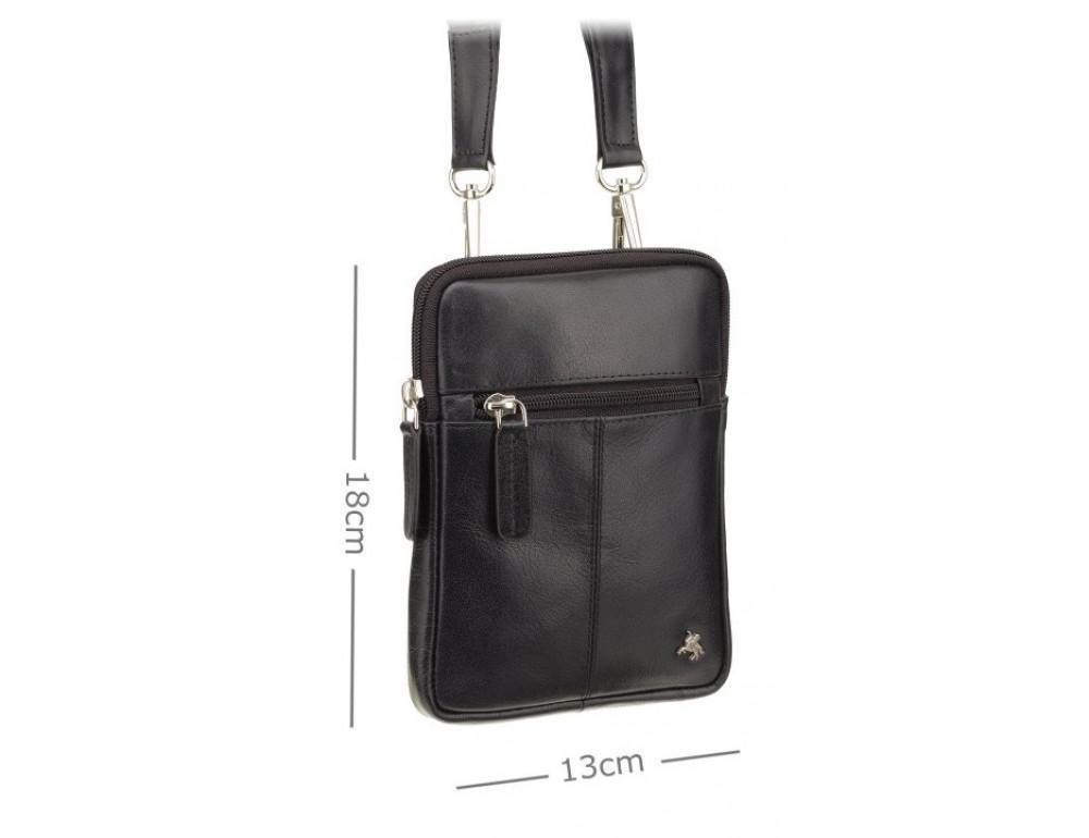 Чорна маленька чоловіча сумка з гладкої шкіри Visconti S10 BLK Remi (Black) - Фотографія № 3