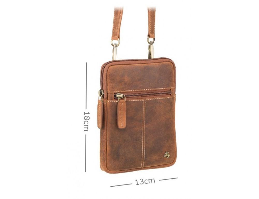 Маленька сумка чоловіча з вінтажній шкіри Visconti S10 OIL TAN - Фотографія № 3