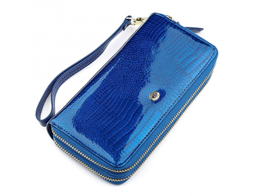 Синий женский кошелёк из лаковой кожи ST Leather S5001B - Фото № 1