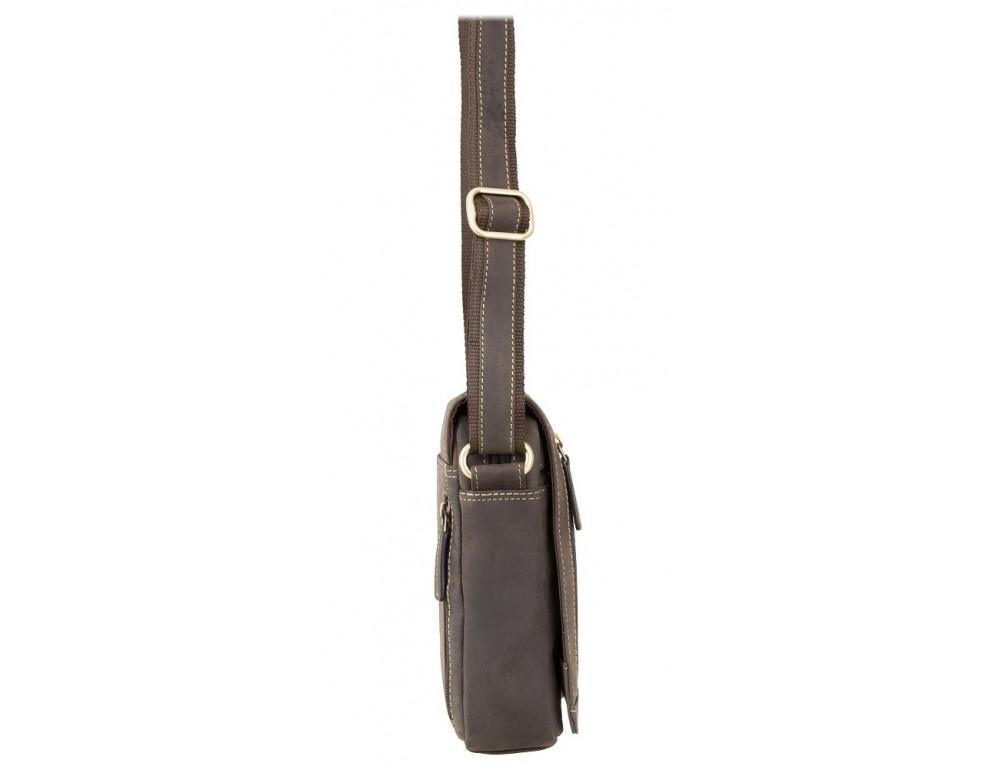 Тёмно-коричневая кожаная сумка через плечо Visconti S7 OIL BRN Bag A5 - Фото № 2