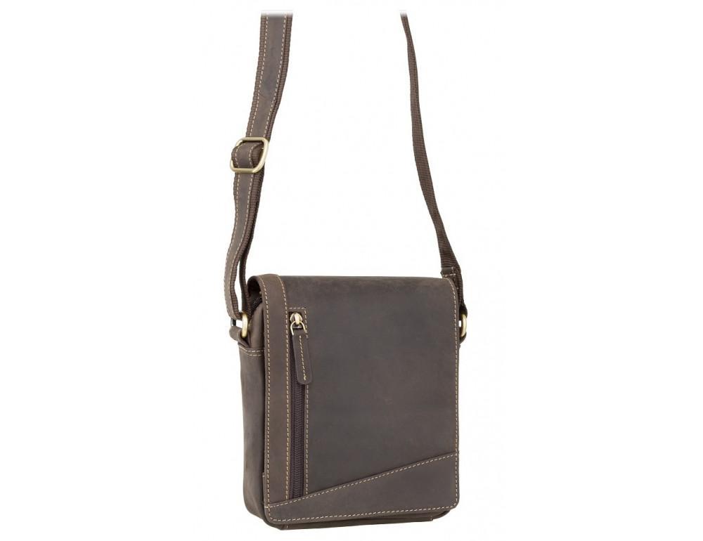 Тёмно-коричневая кожаная сумка через плечо Visconti S7 OIL BRN Bag A5 - Фото № 1