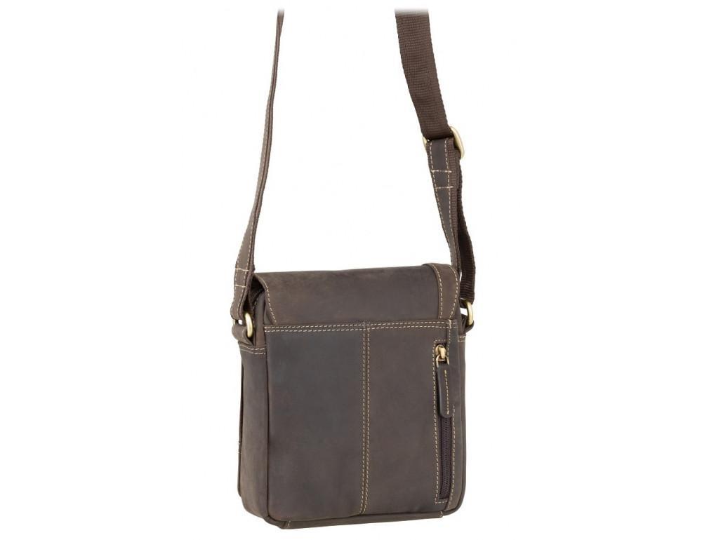 Тёмно-коричневая кожаная сумка через плечо Visconti S7 OIL BRN Bag A5 - Фото № 3