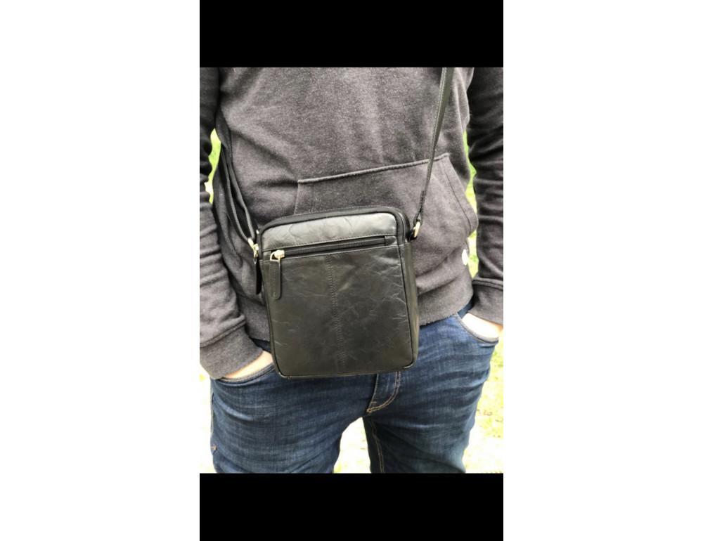 Чёрная мужская маленькая сумка-мессенджер Visconti S8 BLK - Фото № 2