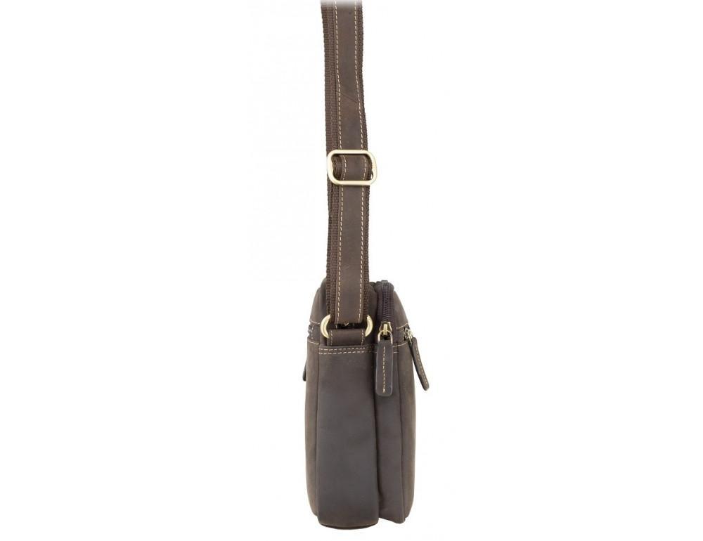 Тёмно-коричневая мужская маленькая сумка-мессенджер Visconti S8 OIL BRN - Фото № 2