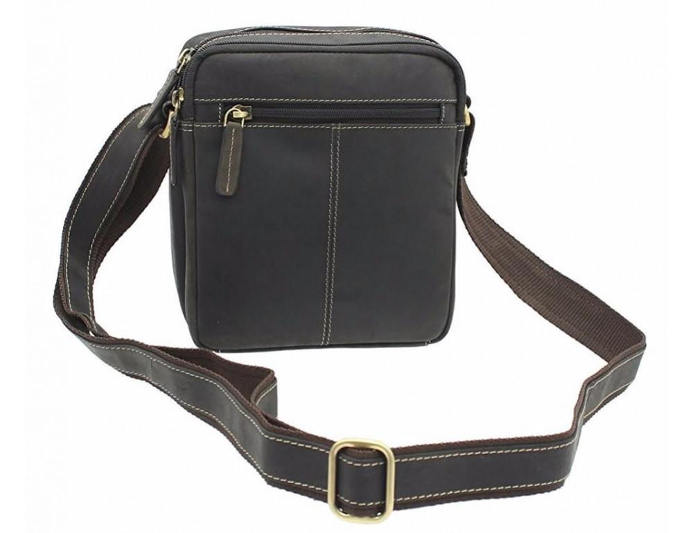 Тёмно-коричневая мужская маленькая сумка-мессенджер Visconti S8 OIL BRN - Фото № 4