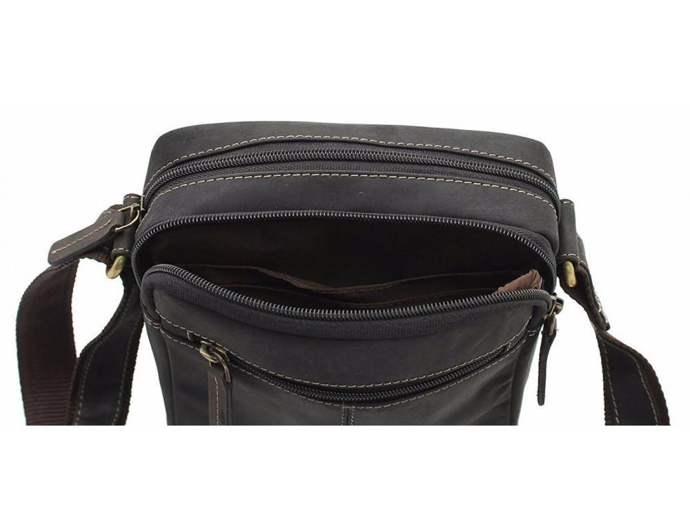 Тёмно-коричневая мужская маленькая сумка-мессенджер Visconti S8 OIL BRN - Фото № 5
