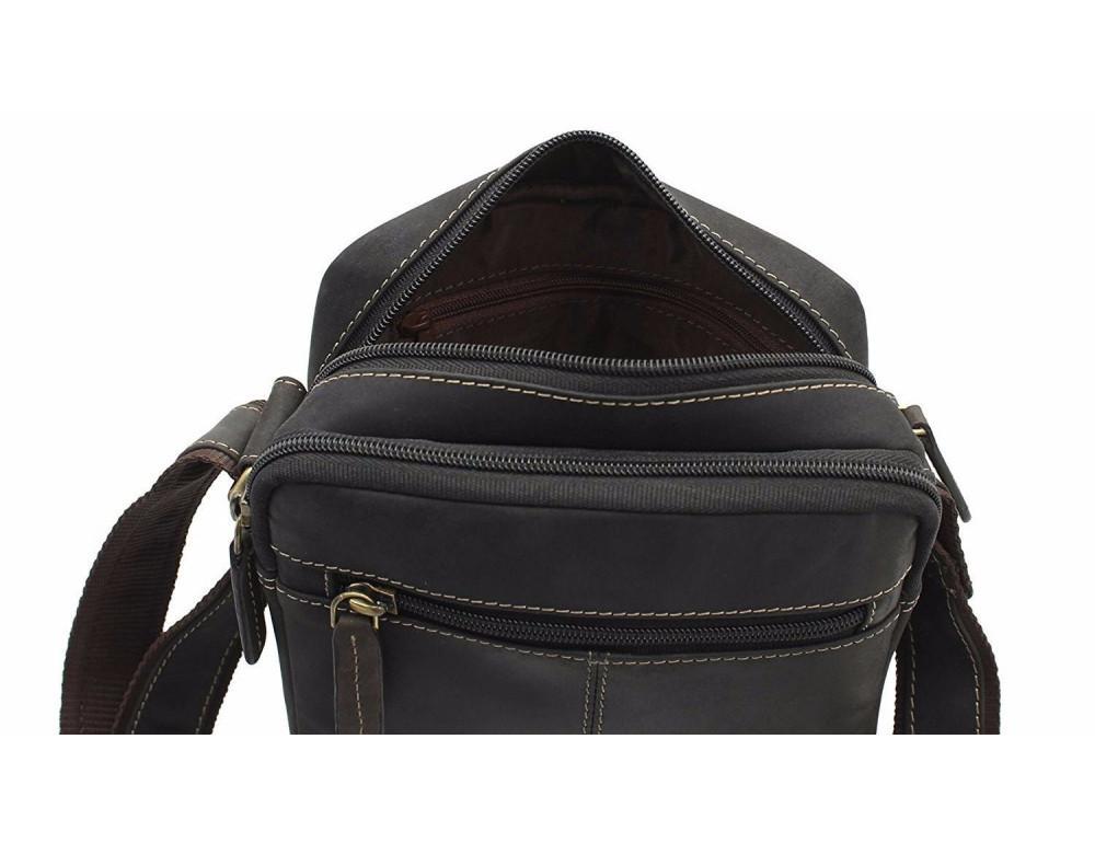 Тёмно-коричневая мужская маленькая сумка-мессенджер Visconti S8 OIL BRN - Фото № 6