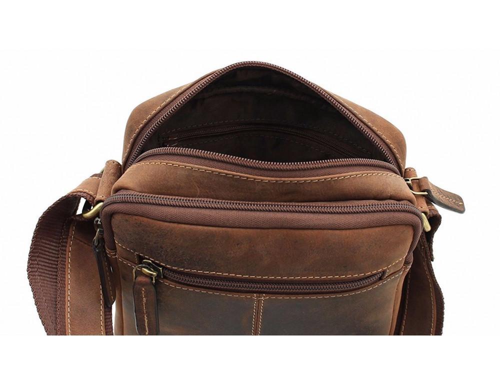 Коричневая мужская сумка мессенджер Visconti S8 OIL TAN - Фото № 7