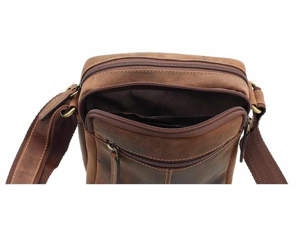 Коричневая мужская сумка мессенджер Visconti S8 OIL TAN - Фото № 8