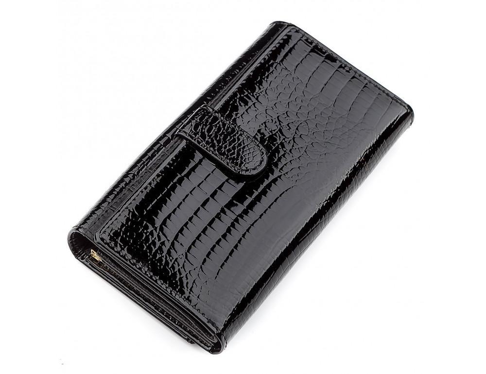Чёрный лаковый кожаный кошелек ST Leather S9001A - Фото № 2