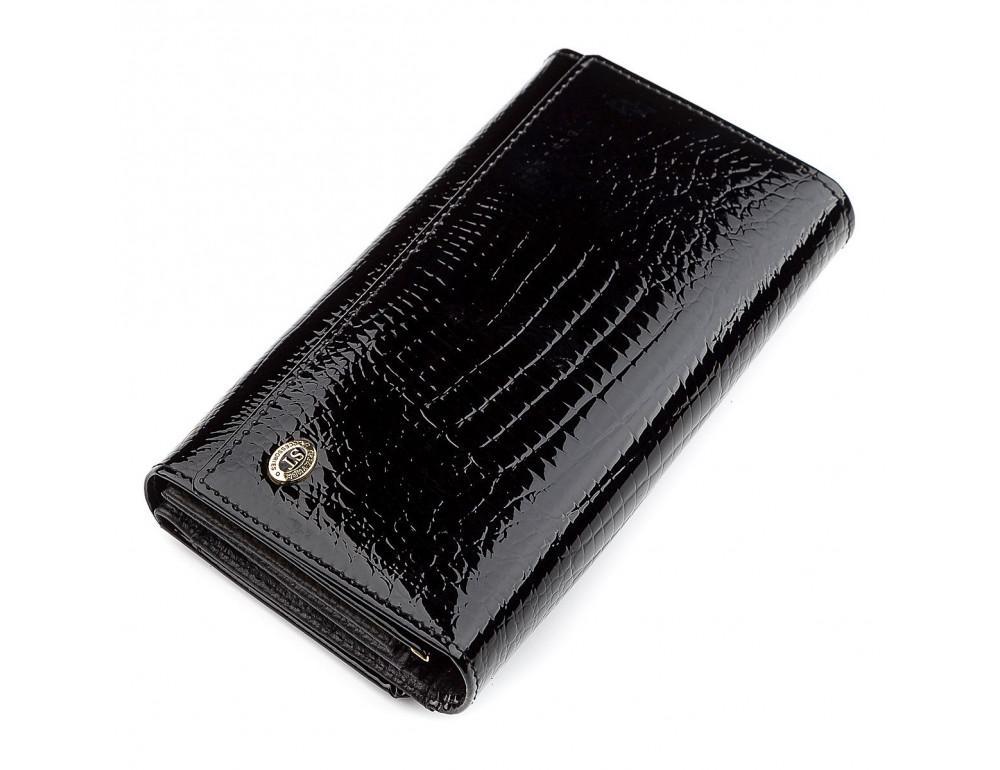 Чёрный лаковый кожаный кошелек ST Leather S9001A - Фото № 1