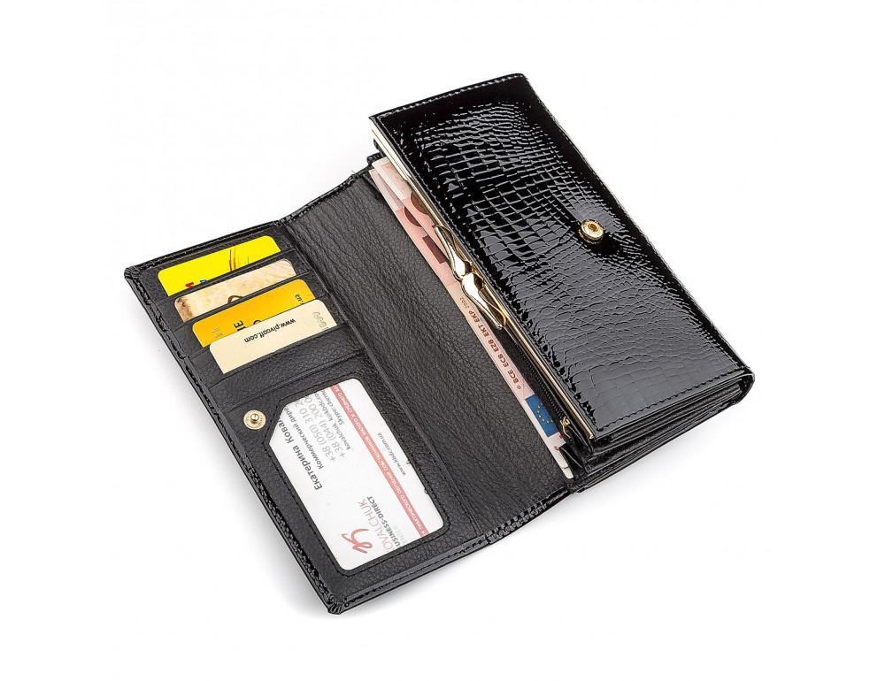 Чёрный лаковый кожаный кошелек ST Leather S9001A - Фото № 3