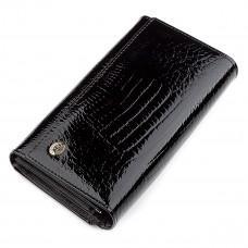 Чёрный лаковый кожаный кошелек ST Leather S9001A