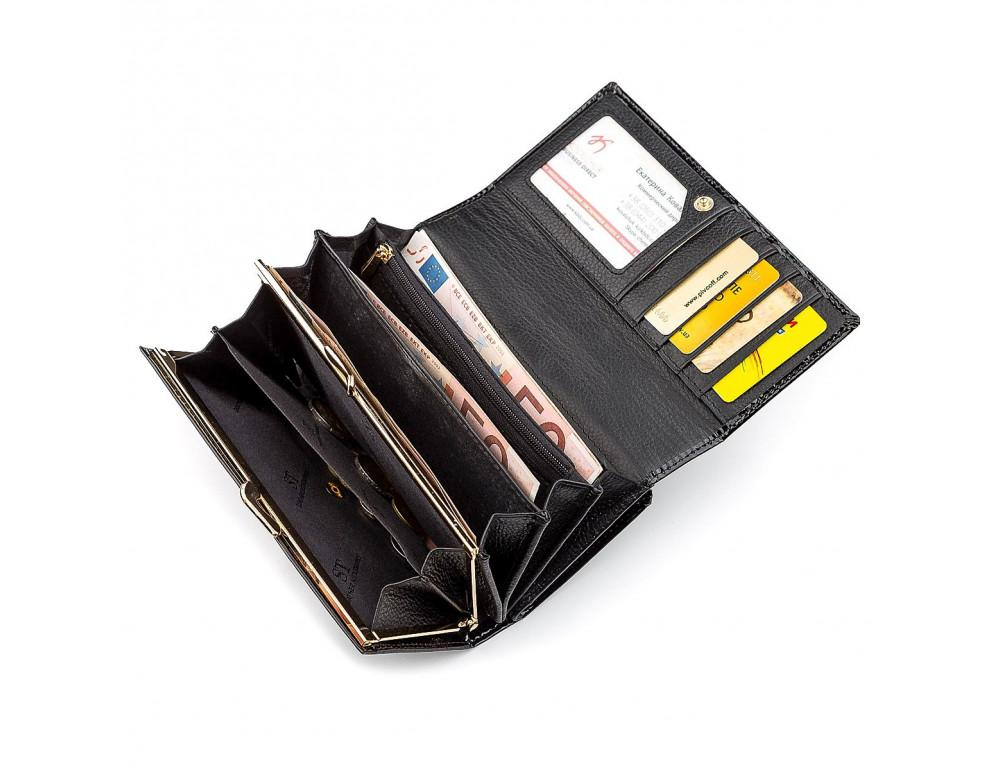 Чёрный лаковый кожаный кошелек ST Leather S9001A - Фото № 4