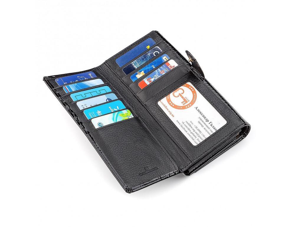 Чёрный лаковый кожаный кошелек ST Leather S9001A - Фото № 5