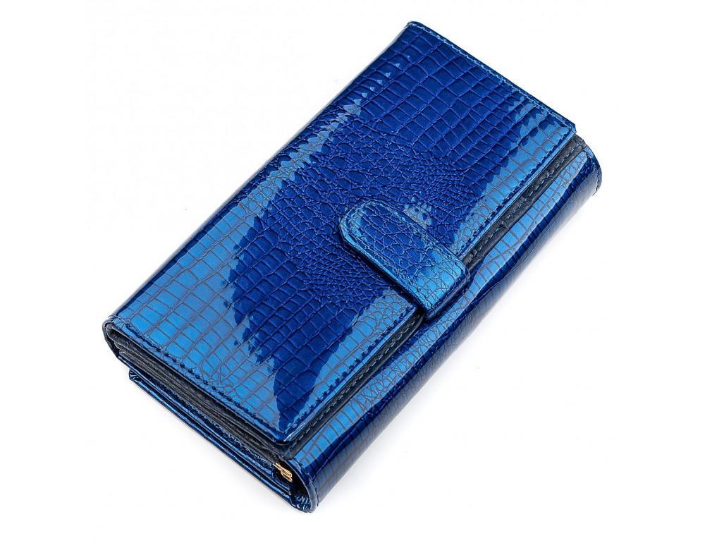 Синий женский кошелёк из лаковой кожи ST Leather S9001B - Фото № 2