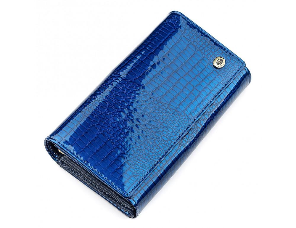Синий женский кошелёк из лаковой кожи ST Leather S9001B - Фото № 1