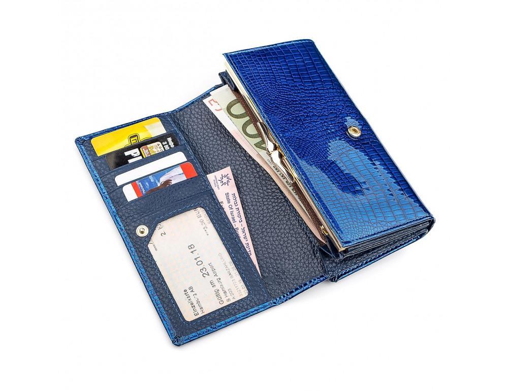 Синий женский кошелёк из лаковой кожи ST Leather S9001B - Фото № 3