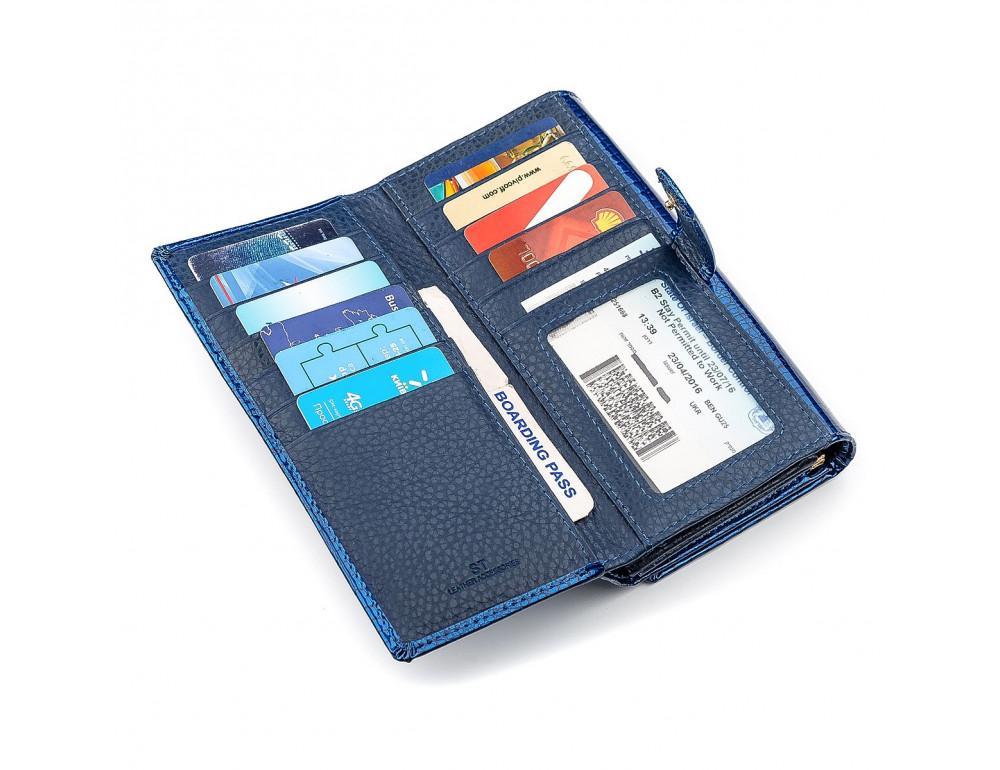 Синий женский кошелёк из лаковой кожи ST Leather S9001B - Фото № 5