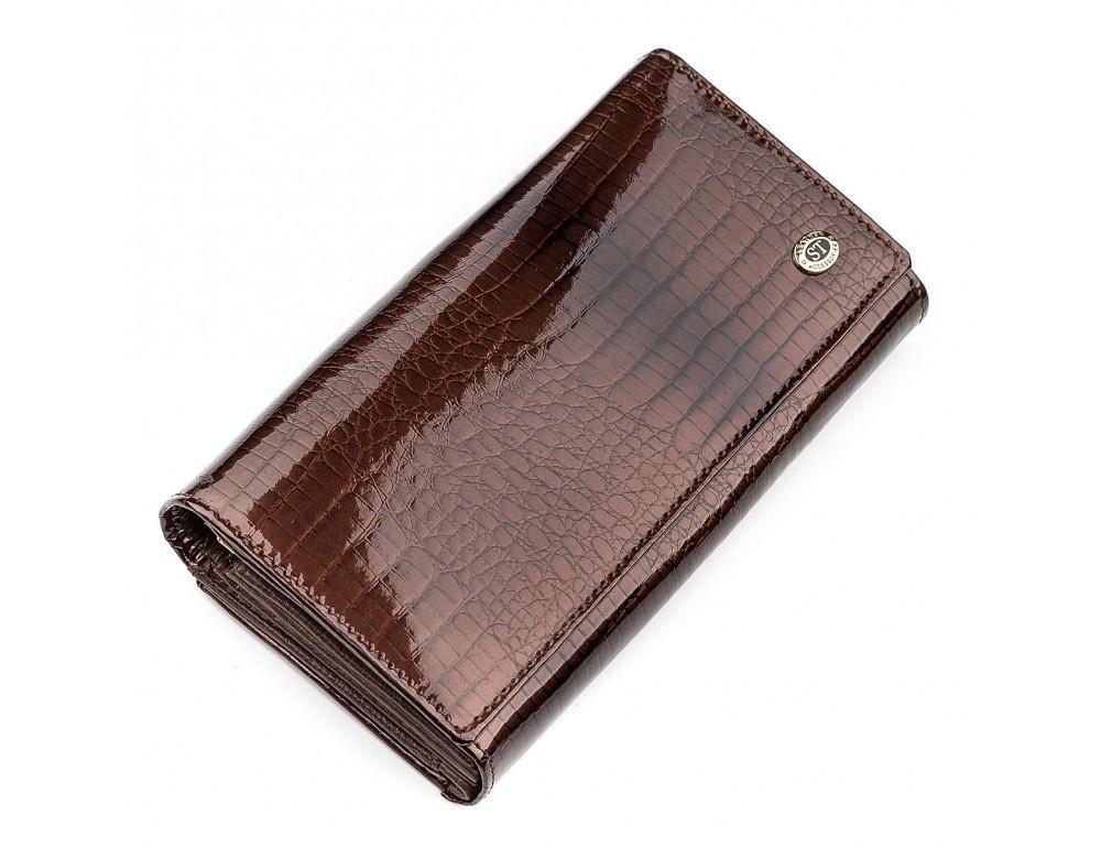 Коричневый женский кошелёк из лаковой кожи ST Leather S9001C - Фото № 1