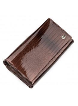 Коричневий жіночий гаманець з лакової шкіри ST Leather S9001C