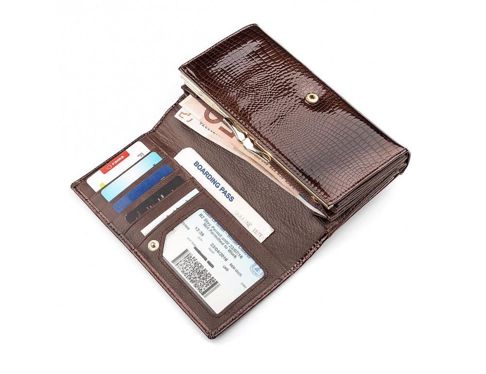 Коричневый женский кошелёк из лаковой кожи ST Leather S9001C - Фото № 4