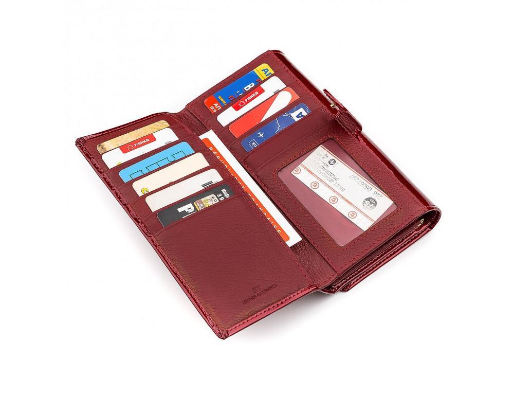 Красный лаковый кошелёк для женщин ST Leather S9001R - Фото № 5