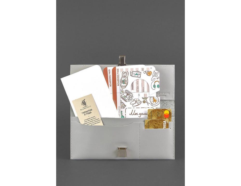 Серый кожаный органайзер под документы Blanknote BN-TK-2-SHADOW - Фото № 2