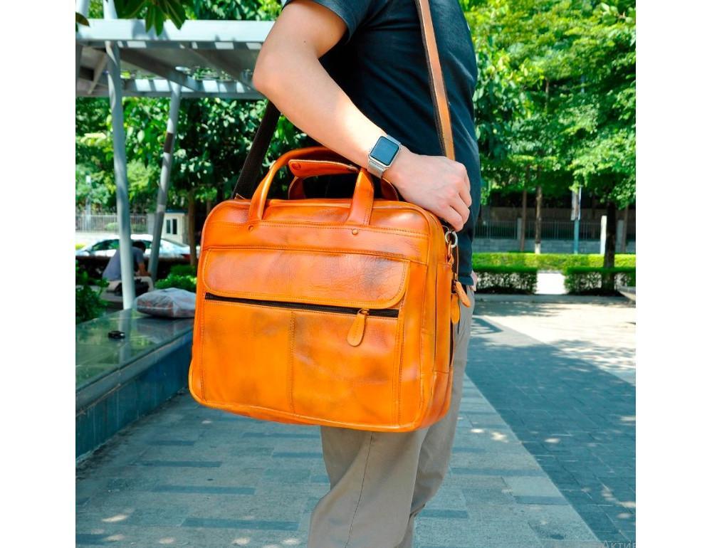 Мужской кожаный портфель Tiding Bag 7146LB светло-коричневый - Фото № 2