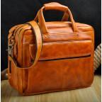 Мужской кожаный портфель Tiding Bag 7146LB светло-коричневый - Фото № 100