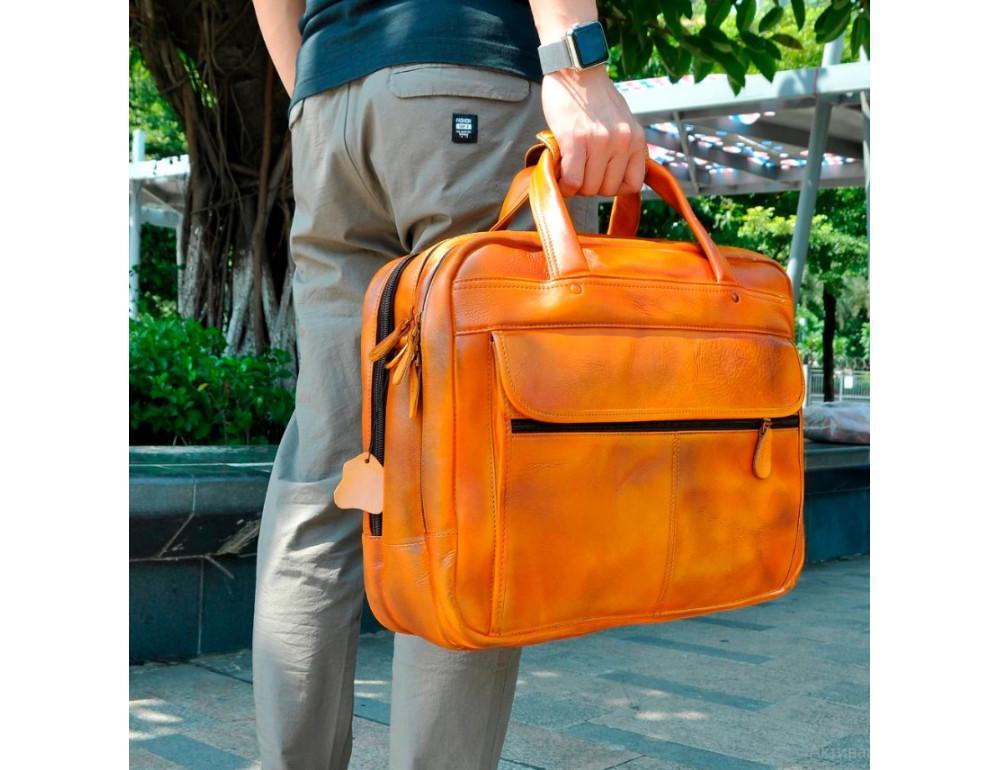 Мужской кожаный портфель Tiding Bag 7146LB светло-коричневый - Фото № 3
