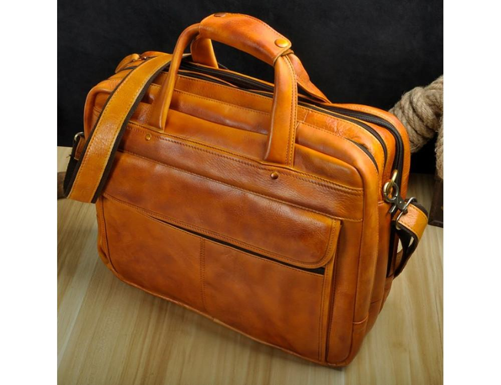Мужской кожаный портфель Tiding Bag 7146LB светло-коричневый - Фото № 4
