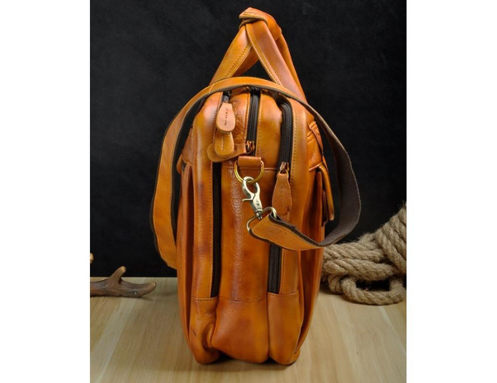 Мужской кожаный портфель Tiding Bag 7146LB светло-коричневый - Фото № 5