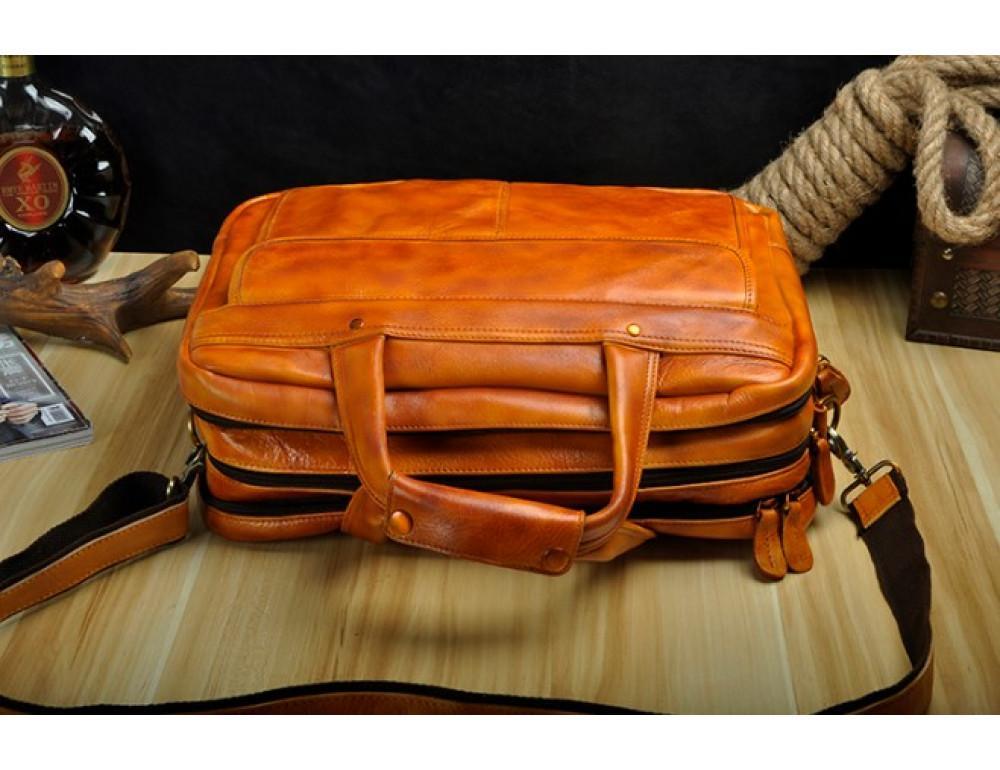 Мужской кожаный портфель Tiding Bag 7146LB светло-коричневый - Фото № 6