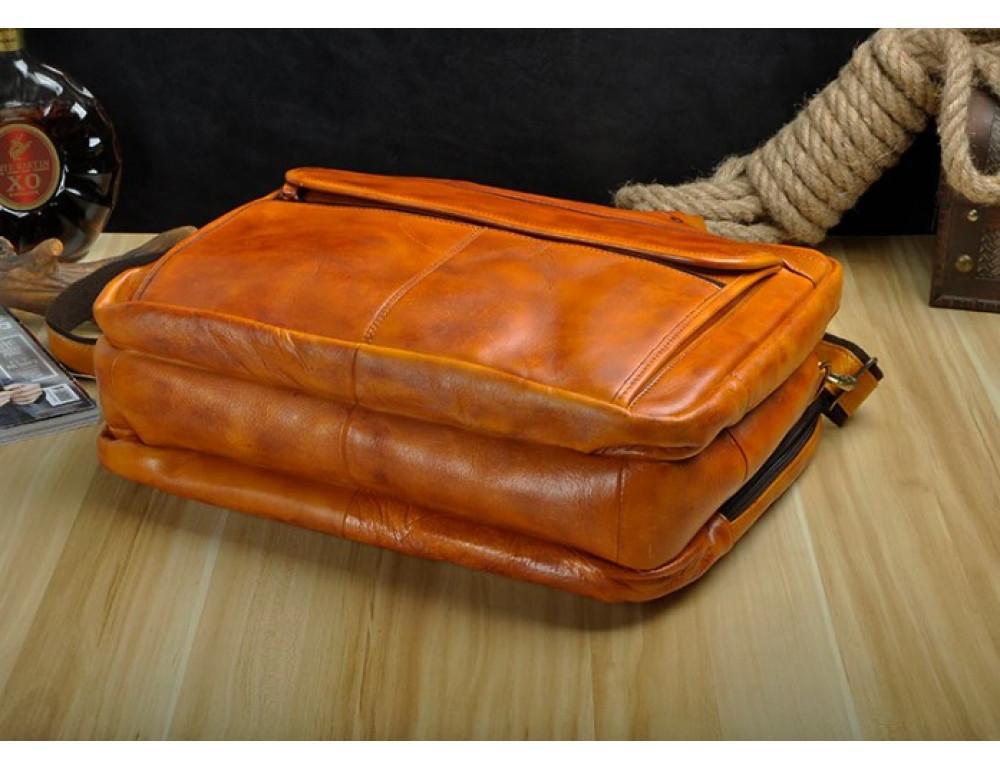 Мужской кожаный портфель Tiding Bag 7146LB светло-коричневый - Фото № 7