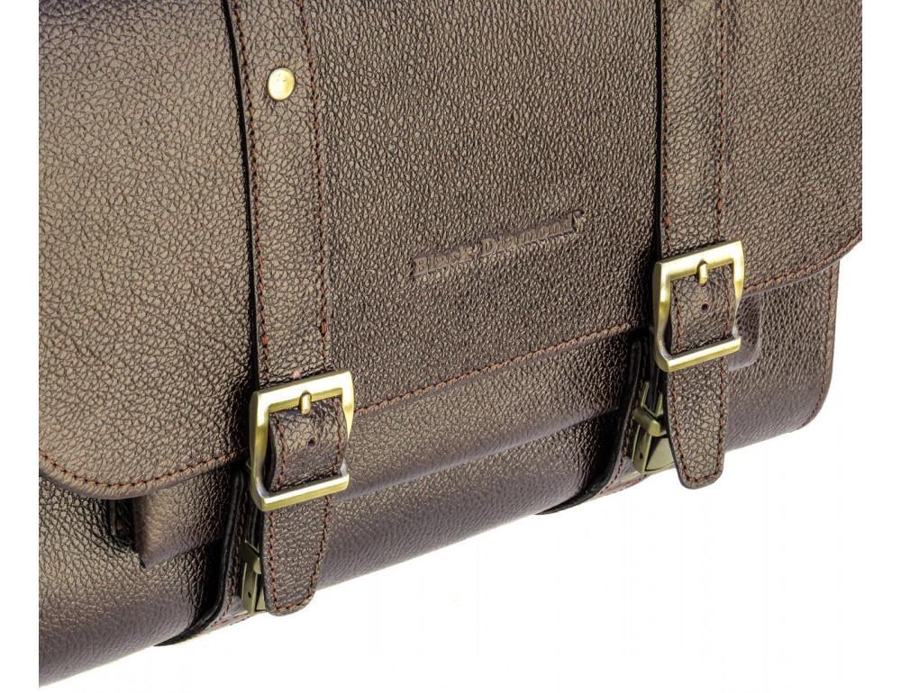 Мужской кожаный портфель black diamond BD33CF коричневый - Фото № 5