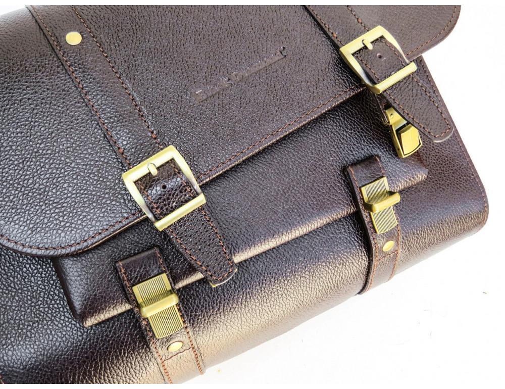 Мужской кожаный портфель black diamond BD33CF коричневый - Фото № 6
