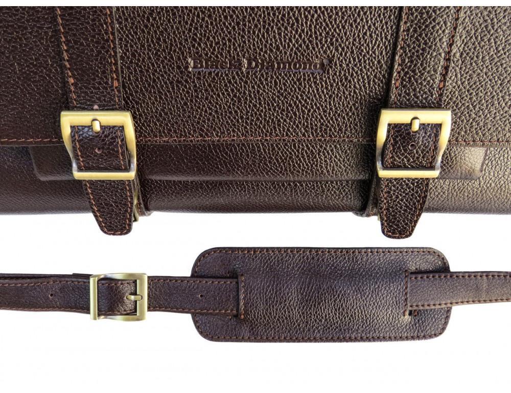 Мужской кожаный портфель black diamond BD33CF коричневый - Фото № 7