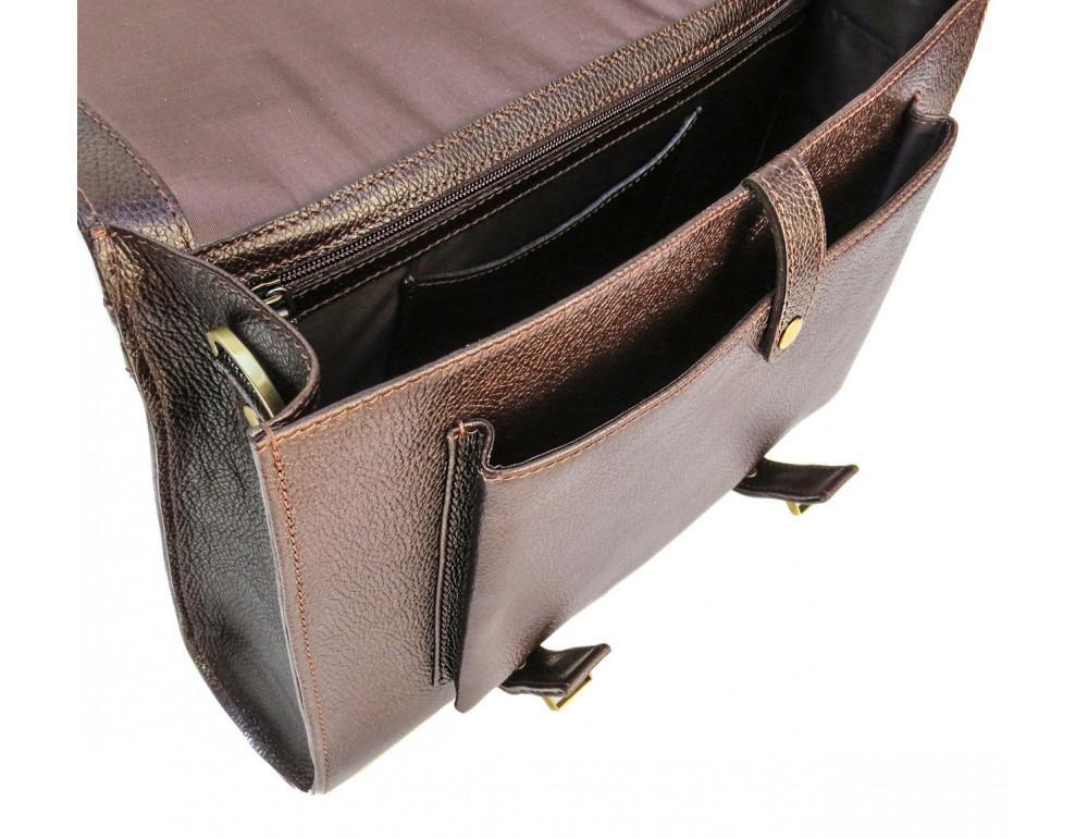 Мужской кожаный портфель black diamond BD33CF коричневый - Фото № 9